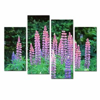 The Lupinus Modern Giclee Canvas Prints 4 Pcs Artwork High Definition Floral Wall Art Paintings For