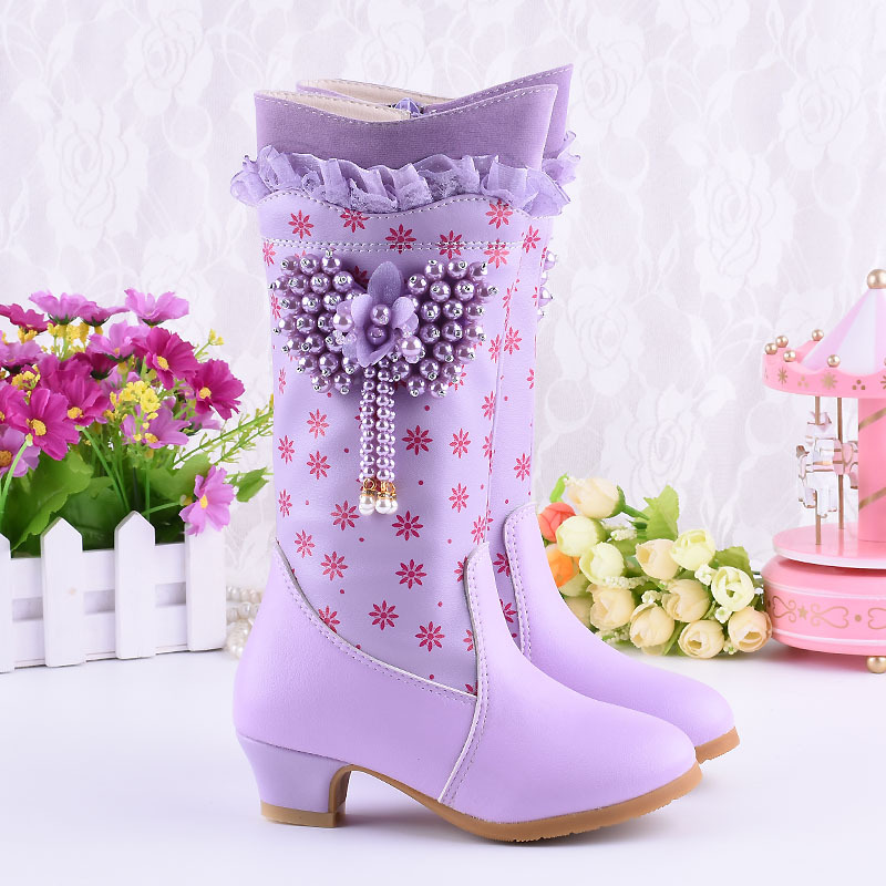Girls Princess Long Boots Heart Shape Pearl Bottes Hiver Fille Raquel Winter Shoes Children High Heel Leather Botas Kids 3-15