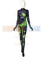 Quality Poison Ivy Costume 3D Printing Spandex Lycra Cosplay Costume Halloween female superhero Bodysuit