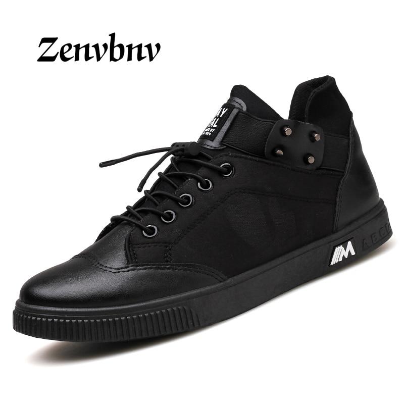 ZENVBNV Brand New Men Casual Shoes Flats Men High Top Shoes Fashion Hip Hop Leather Shoes Men Sliver Black men Footwear 44 size cbjsho brand men shoes 2017 new genuine leather moccasins comfortable men loafers luxury men s flats men casual shoes