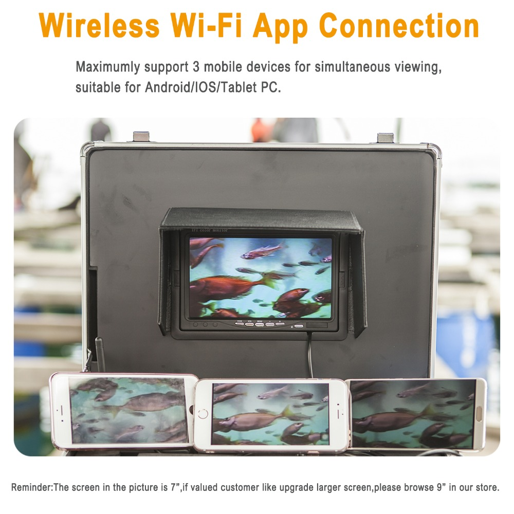 """Image 2 - SYANSPAN 7"""" Wireless WiFi 20/50/100M Pipe Inspection Video Camera,Drain Sewer Pipeline Industrial Endoscope support Android/IOS-in Surveillance Cameras from Security & Protection"""