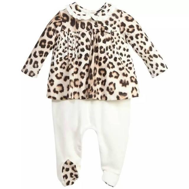 Bebê de veludo Leopardo grão longo macacão manga gola Boneca princesa rompers por atacado