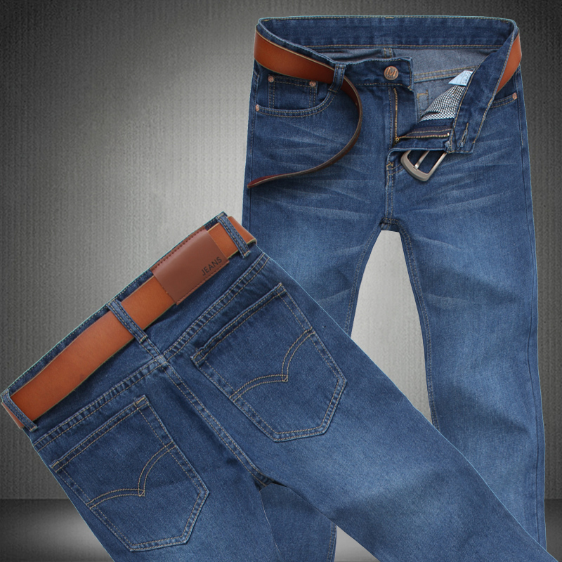 CLASSDIM Men's Straight Denim Jeans Men Cowboy Trousers  New Fashion Male Large size Casual Jeans Size 28-46 men s cowboy jeans fashion blue jeans pant men plus sizes regular slim fit denim jean pants male high quality brand jeans