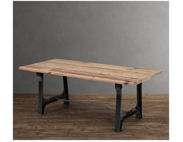 LOFT Iron Wood Industry Rustic Farmhouse Dining Table Rectangular Square  Table IKEA Multifunction Nordic Combined