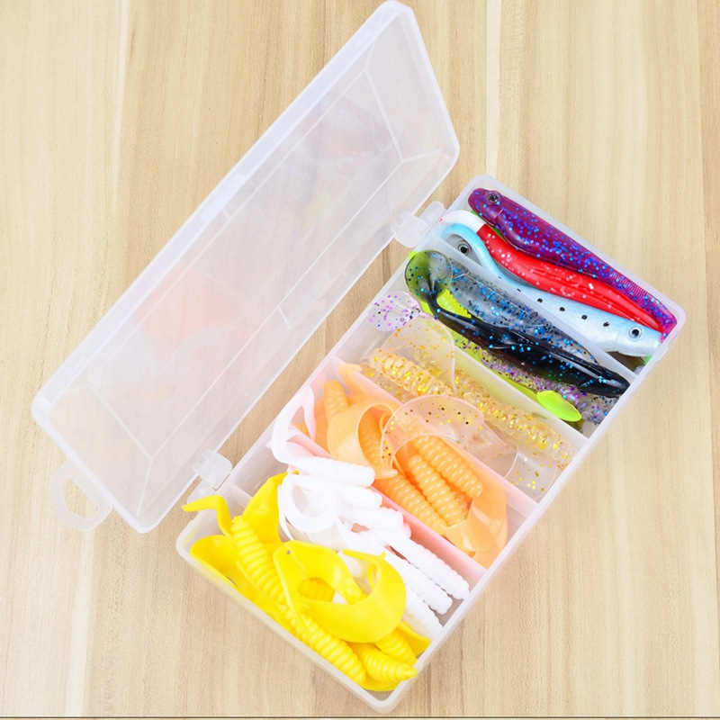 45pcs/set Soft Bait Sea Fishing Tackle Wobbler Jigging Fishing Lure Silicone Bait Soft Worm Shrimp Jerkbait K5