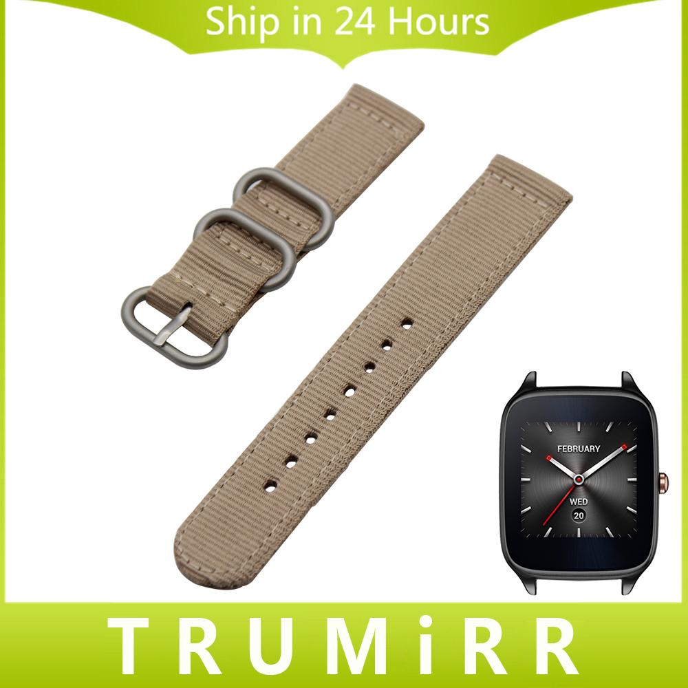 22mm Nylon Watch Band Zulu Strap for Asus ZenWatch 1 2 Men WI500Q WI501Q Pebble Time / Steel Fabric Belt Bracelet Black Brown