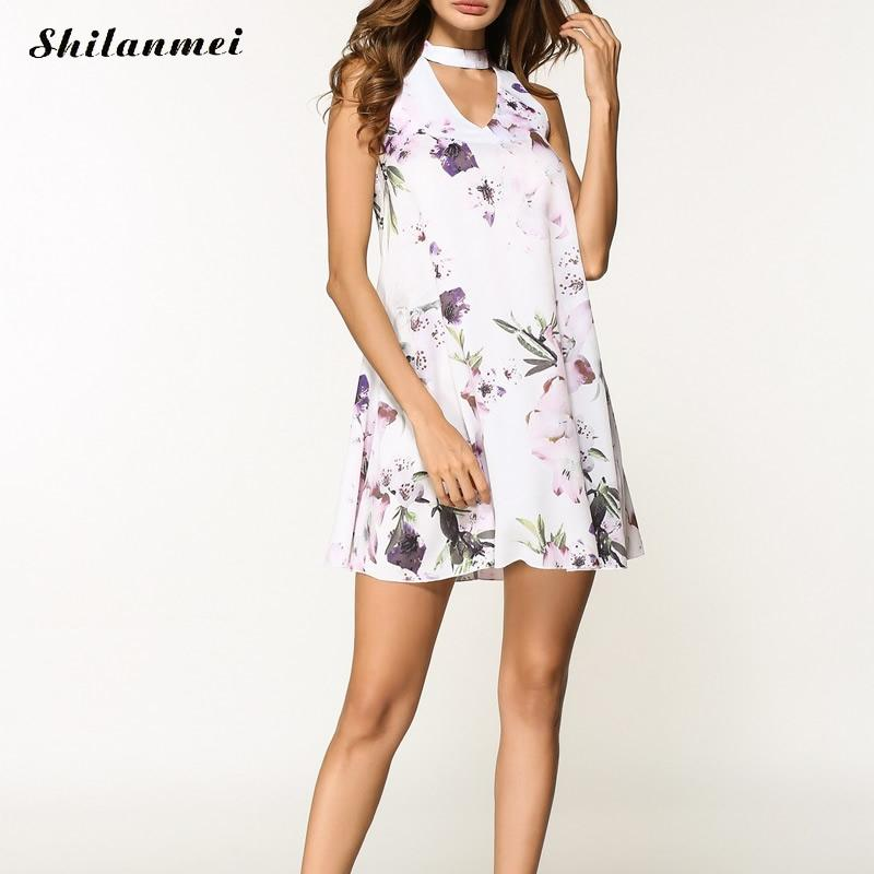 Women Summer Dresses Sexy Sleeveless Chorker V Neck Bohemian Beach Dress Floral Print 2018 Causal Dress Loose A Line Robe Femme