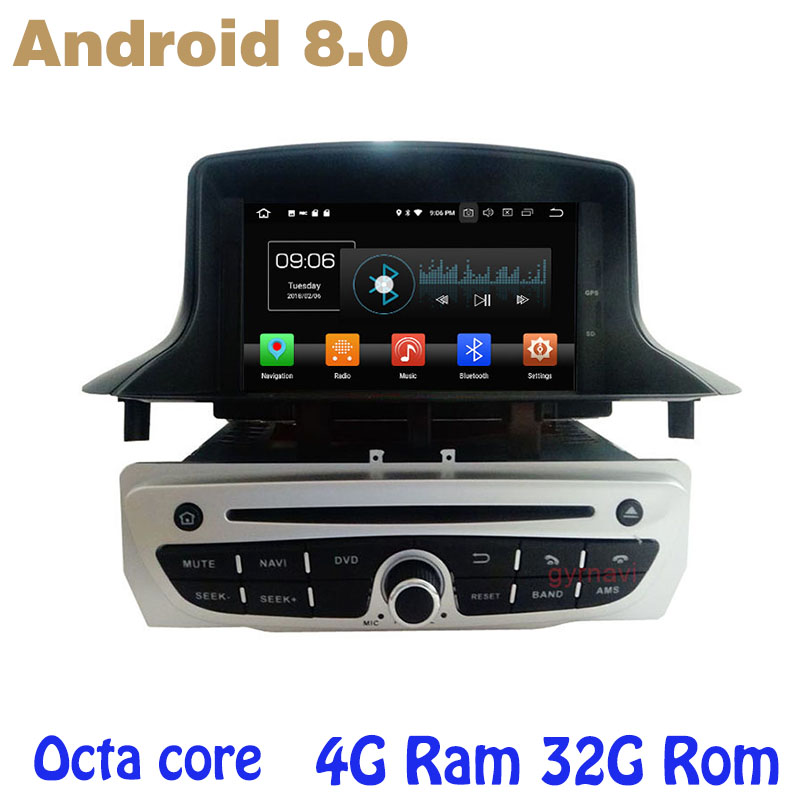 Octa core Android 8.0 car dvd <font><b>gps</b></font> for Renault <font><b>Megane</b></font> <font><b>3</b></font> III Fluence 2009-2016 with 4G RAM 32G ROM wifi 4g usb auto Multimedia image