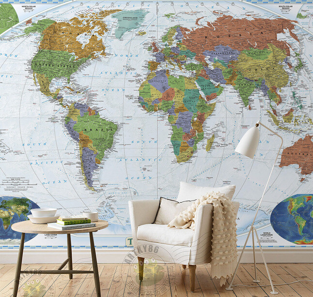 Custom papel de parede infantil world map murals for boys for Papel pared infantil