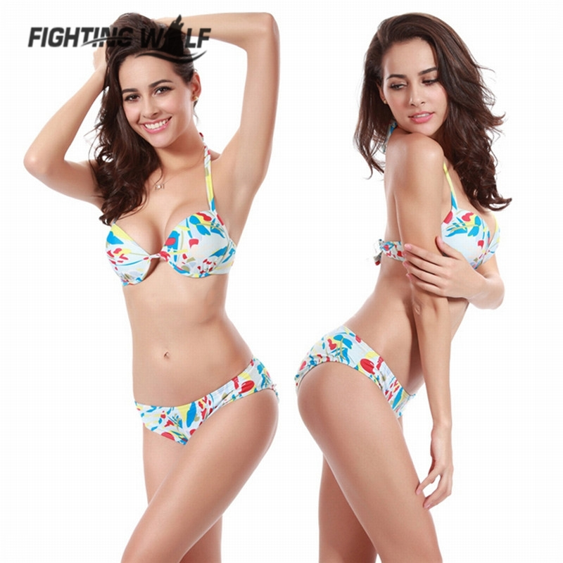 Floral <font><b>Printed</b></font> <font><b>Halter</b></font> Neck <font><b>Low</b></font> <font><b>Waist</b></font> Two Piece Bikini Set <font><b>Underwire</b></font> <font><b>Push</b></font> <font><b>Up</b></font> <font><b>Sexy</b></font> Swimsuit Swimming Bathing Beach Sea Side Wear