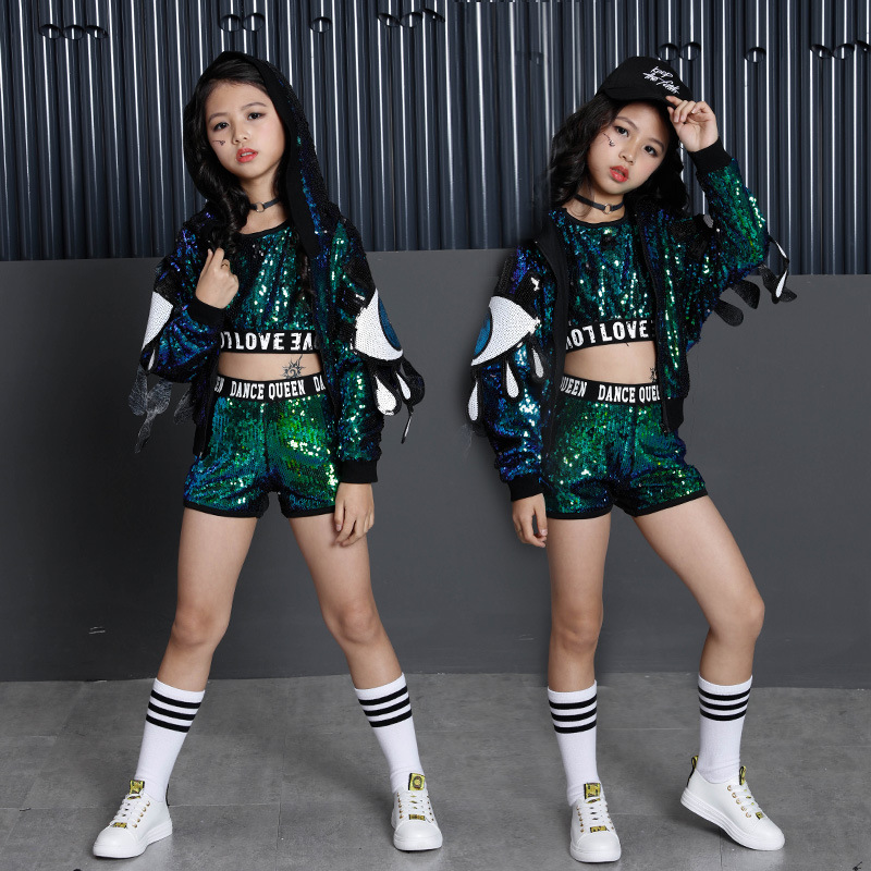 Children Girl Hip Hop Costume Green Sequins Glitter Jazz Street Dance Costume Baseball Clothes Coat Pants T-Shirt for Kids