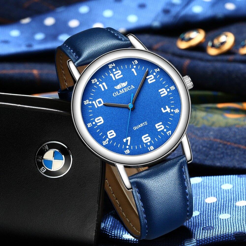 e5ddb879dd7 OLMECA Venda Quente Homens de Negócios de Moda Relógio Relogio masculino  Relógio De Pulso Azul 3ATM Relógios À Prova D  Água Da Liga Pulseira de  Couro em ...