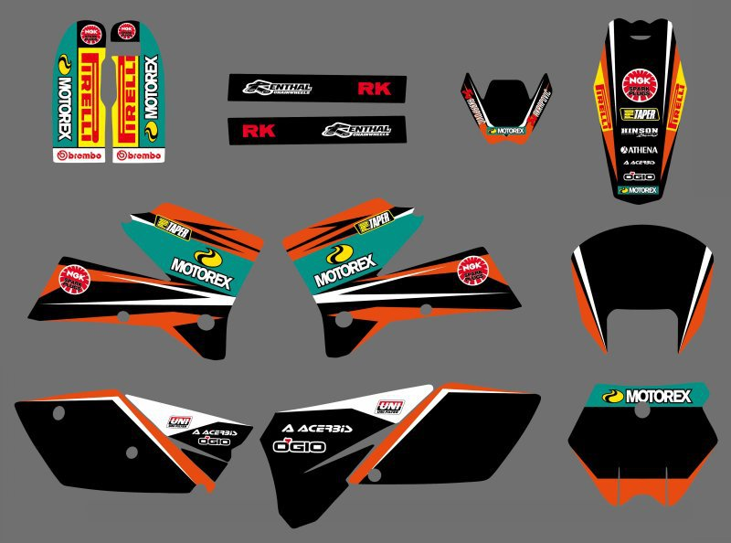 0555 Black&Orange NEW TEAM  GRAPHICS WITH MATCHING BACKGROUNDS FIT FOR KTM SXF MXC SX EXC Series 2005 2006 2007  0322 star new team graphics with matching backgrounds fit for ktm sx sxf 125 150 200 250 350 450 500 2011 2012