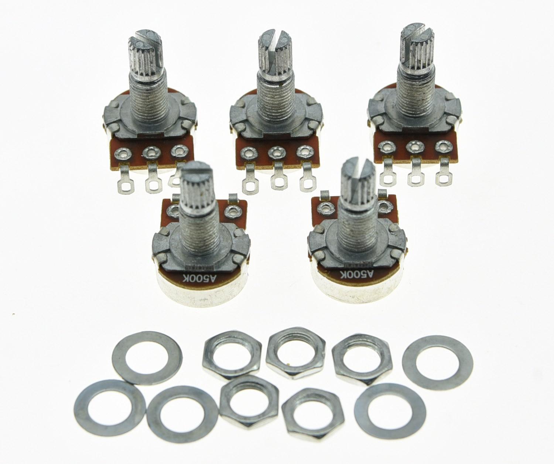 цена на KAISH 5x A500K Audio Electric Guitar Mini Pots Long Split Shaft 500K Potentiometer