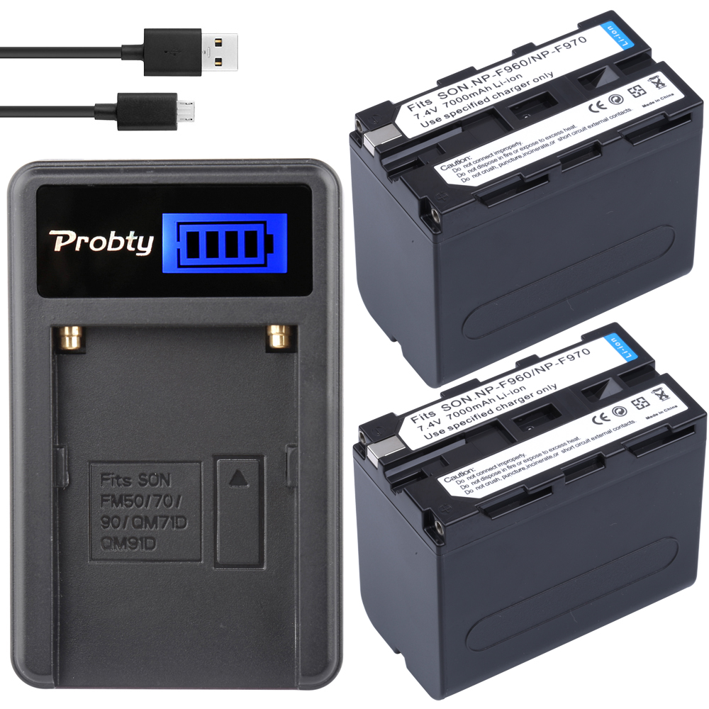 Probty 2pcs  NP-F970 NP-F960  NPF960 NP F970 Batteries + USB LCD Charger For Sony DCRVX2100 HDRFX1 HDRFX7 HD1000U HVRZ1U PM092