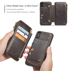 Image 4 - Detachable Leather Case For iPhone 11 Pro Max X XR XS Max Zipper Flip Phone Case For iPhone 8 7 Plus 6 6S SE 2020 Wallet Cases