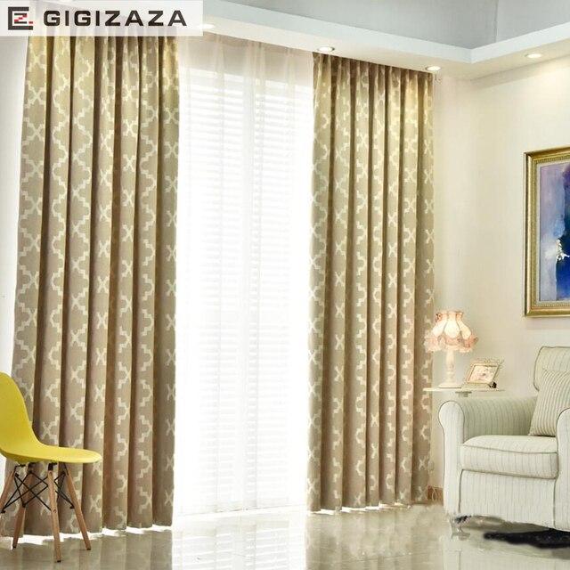 GA New Geometric jacquard blinds fabric curtain for livingroom