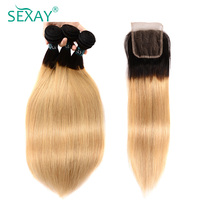Blonde Human Hair Bundles With Clsoure 3 Bundles One Pack With Closure Dark Roots T1B 27