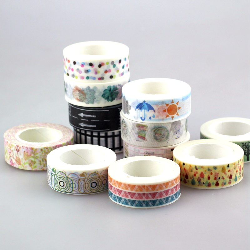NEW !1pcs/lot 15mm * 10m Kawai Tape Patterns of Flags,dots and flower Japanese Paper Washi Tape 10m