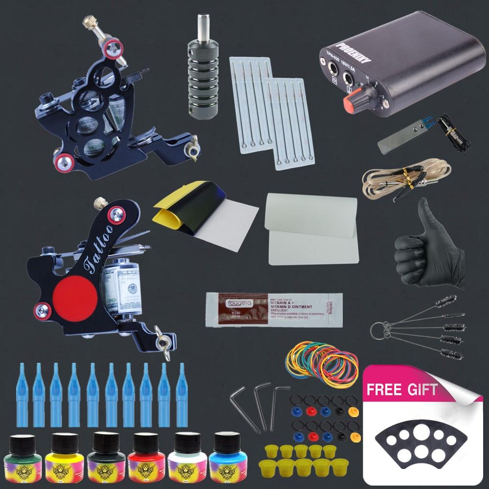 ФОТО Starter Tattoo Black Machine Set Kits Ink Pigment Sets Power Supply Needles Cheap Beginner Supplies Tattoo for Body