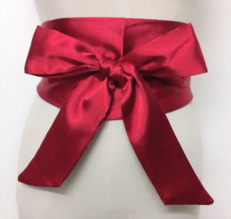 Vintage Wide Silk Woman   Belt   Ladies Double Circle Satin   Belts   Ceinture Femme Accessories Long Bantom   Belt   Corset