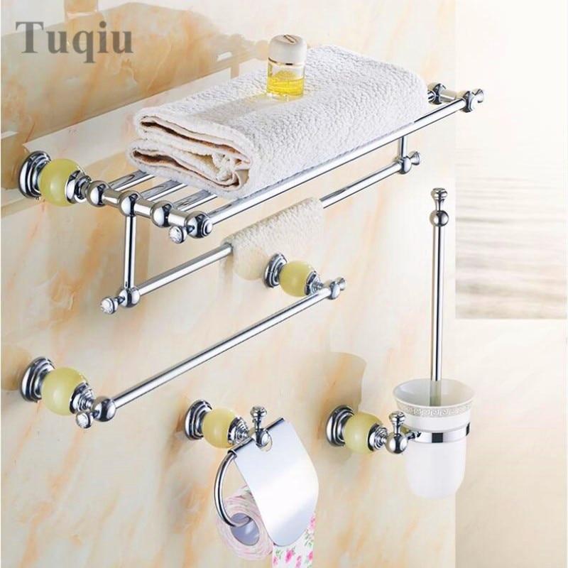 Free transportation, high quality all copper materials, green jade base, chrome bathroom hardware pendant set стоимость