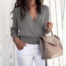 M 2019 Womens New Deep V Long Sleeve Solid Color Sweater Fashion Commuter Small Fresh