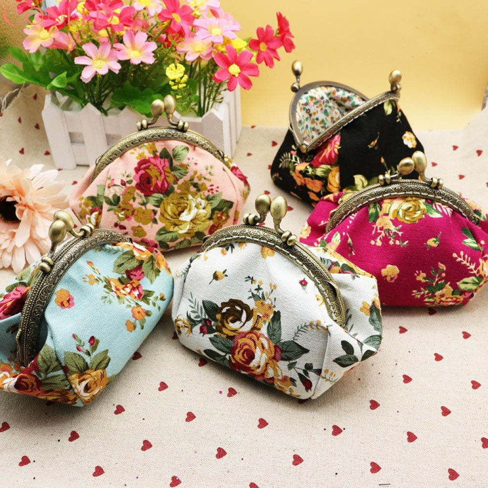 CONEED Women Lady Retro Vintage Flower Small Wallet Hasp Purse Clutch Bag drop ship ma19m30