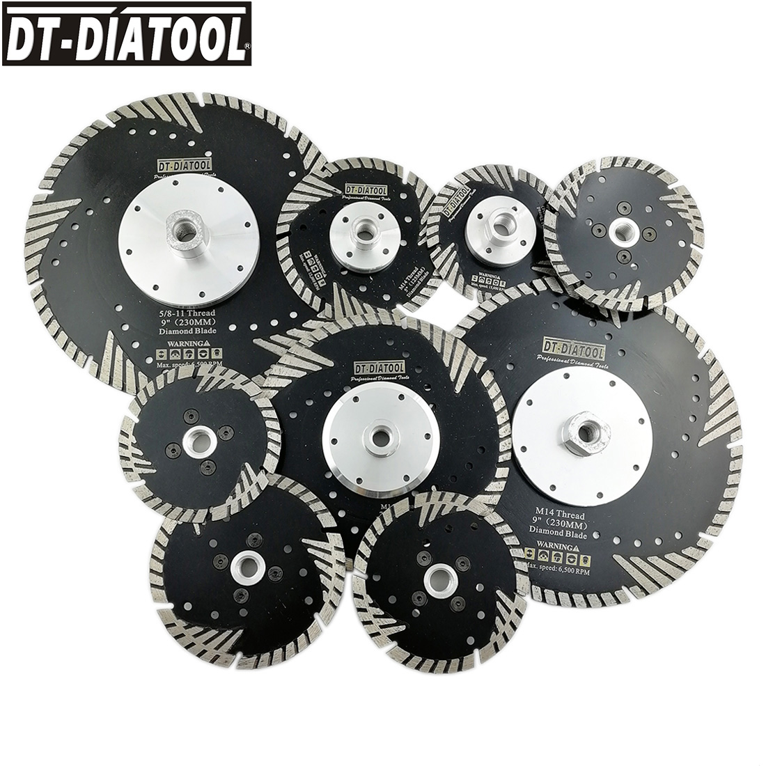 "DT-DIATOOL 2pcs Diameter 4""-9"" Hot pressed Diamond turbo Blades Grinding Disc Dry or Wet cutting disc for stone concrete brick"