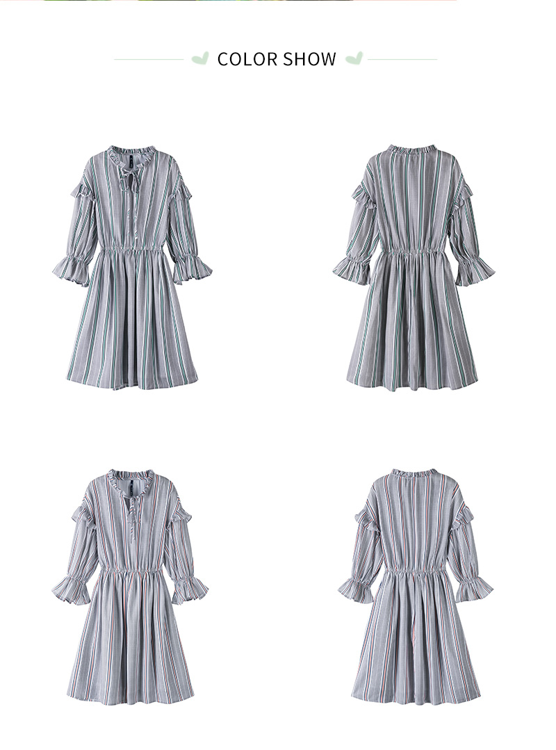 SEMIR women dress female 2018 autumn new retro striped dress loose thin dresses long flare sleeves clothing for woman 41