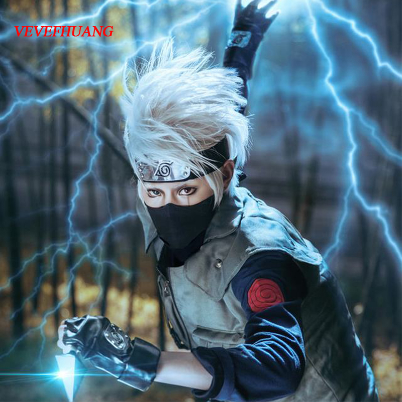 VEVEFHUANG Anime NARUTO Hatake Kakashi Cosplay Wigs ( Include Headwear ) Halloween,Party,Stage,Play Silver White Short Hair