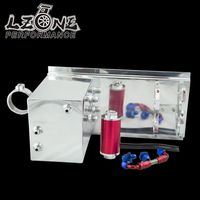 LZONE RACING 5L Aluminum Fuel Surge Tank Fuel Tank Fuel Cell 5L Polished AN Fittings Pump