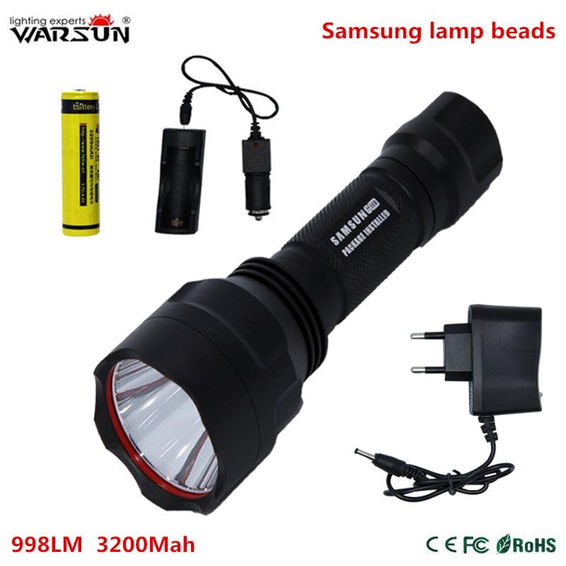 Samsung led 10 Вт C8 тактический фонарь 351 люмен 18650 Водонепроницаемый светодиодный фонарик с автомобильное зарядное устройство для кемпинга На Открытом Воздухе охота