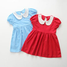 New Doll Collar short Dress Sweet Puff Sleeves Solid Color P