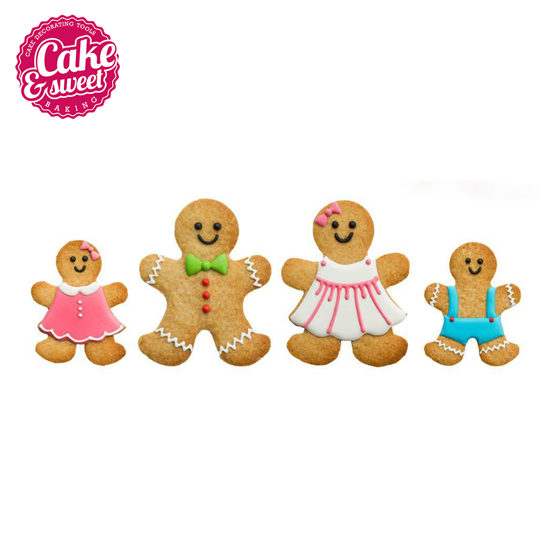 Gingerbread Cookie Cutter 5Pcs Set The Gingerbread Man Shapes for Kids Multi-size Biscuit Cutters Multi-color/Baking Tools