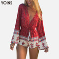 YOINS 2017 New Boho Printed Women Jumpsuit Sexy V-Neck Romper Long Sleeve Bodysuit Tie Waist Rompers XXXL Overalls Beach Wear