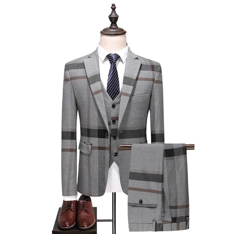 High-end Men Suit Three-piece Sets Slim Elegant Mens Business Banquet Wedding Dress Suits Size S M L XL 2XL 3XL 4XL 5XL