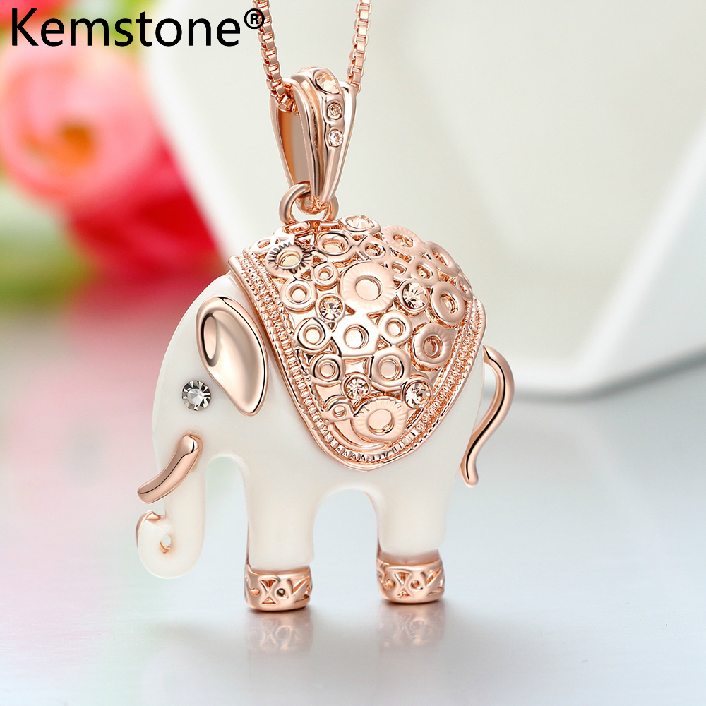 Kemstone Sexy Elephant Collier & Pendentifs Pour Femmes Full Strass Cristal Bijoux Colliers, 15 ""
