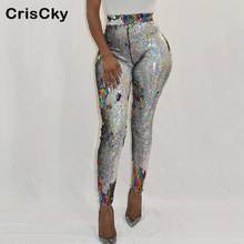 CRISCKY 2019 New Sequin Long Pants Womens High Waist Sexy Slim Trousers Ladies Party NightClub Casual
