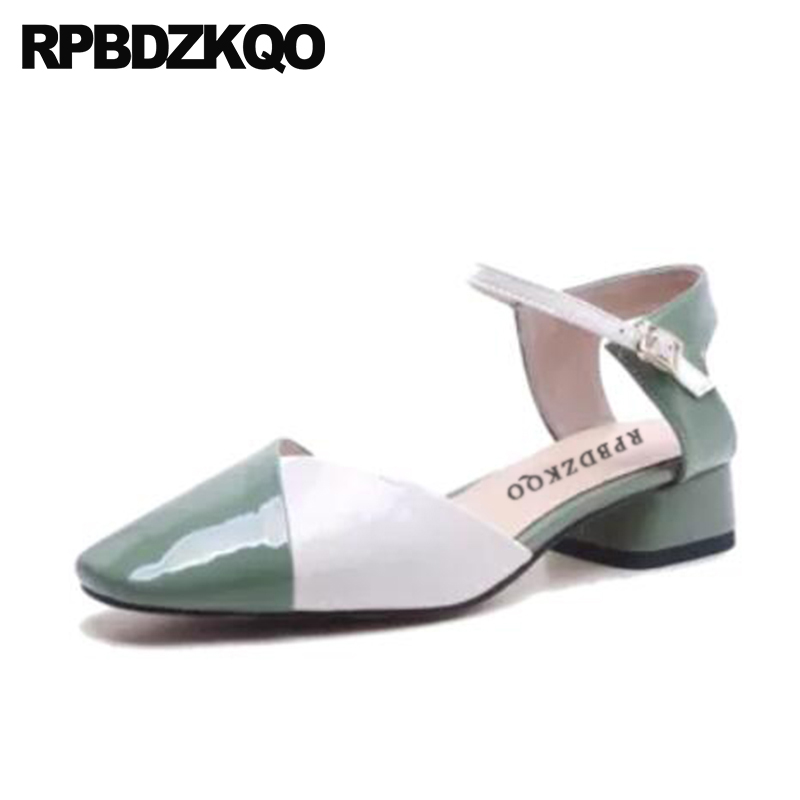 Women Patent Leather Casual Thick Ankle Strap Shoes Low Heels New Genuine Size 4 34 Square Toe 33 2018 Mint Green High Quality ankle strap heels wrap full grain leather t low cut uppers british style high quality round toe single shoes with thick soles