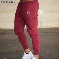 YEMEKE Brand Gyms Men Joggers Casual Men Sweatpants Joggers Pantalon Homme Trousers Sporting Clothing Bodybuilding Pants