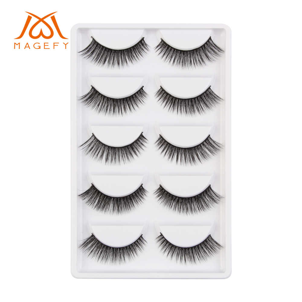 4b18371e93c MAGEFY 5 Pairs 100% Real Mink Eyelashes Natural Long Makeup False Eyelashes  3d Mink Lashes