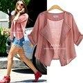 Xl-5xl nueva marca moda mujeres otoño verano-protective clothing blusa blousa casual media manga de la rebeca de la blusa