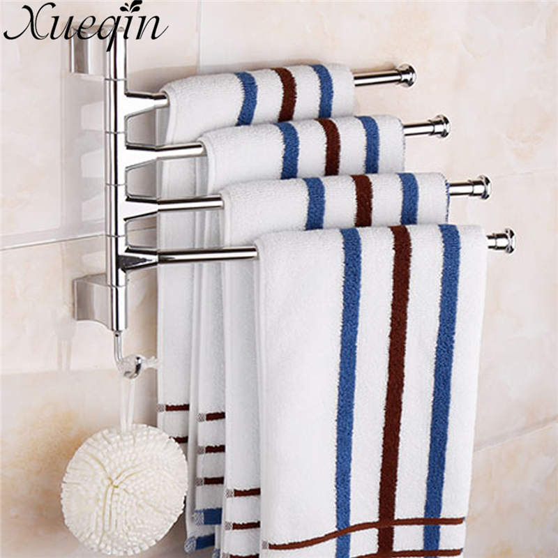 Xueqin Four Tiers Swivel Rotating Bathroom Movable Towel Rack Bars Rotary Storage Hanging Racks Wall Mounted Towel Holder xueqin retro style bathroom towel rack cast iron towel rail holder hanging shelves clothes hanging home storage hanger