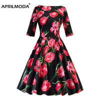 Tulip Flower Printed Winter Autumn Women Dress 3/4 Sleeve V Neck Black 1950s 50s Big Swing Casual Retro Vintage Rockabilly Dress