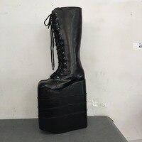 Туфли в стиле Лолиты, панк, обувь на заказ, обувь на шнуровке, черные ботинки на очень высоком каблуке, обувь на платформе с круглым носком,