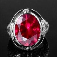 Подлинная 925 пробы Серебряное кольцо создан рубиновое яйцо камень для мужчин винтаж выдолбленные цветок вечерние партии коктейльное