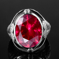 Genuine 925 Sterling Silver Ring Created Ruby Egg Stone for Men Vintage Hollowed Flower Women Party Cocktail Ring Fine Jewelry