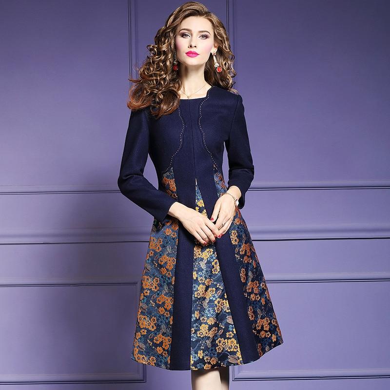 print Floral Wool dress Spring 2018 new High Street office work Women Christmas Party Dress 3xl