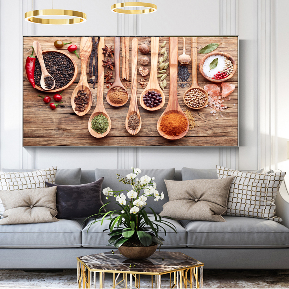 Colorful Wall Decor: Colorful Spice And Spoon In Table Canvas Paintings Kitchen